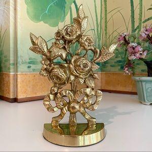 Vintage Brass Floral Bookend Rose Bouquet w/ Bow